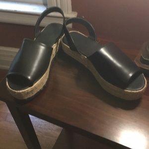 Size 9 black faux leather espadrilles